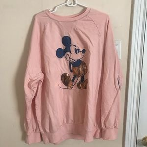 XL Pink Disney World Sweatshirt, Rose Gold Mickey
